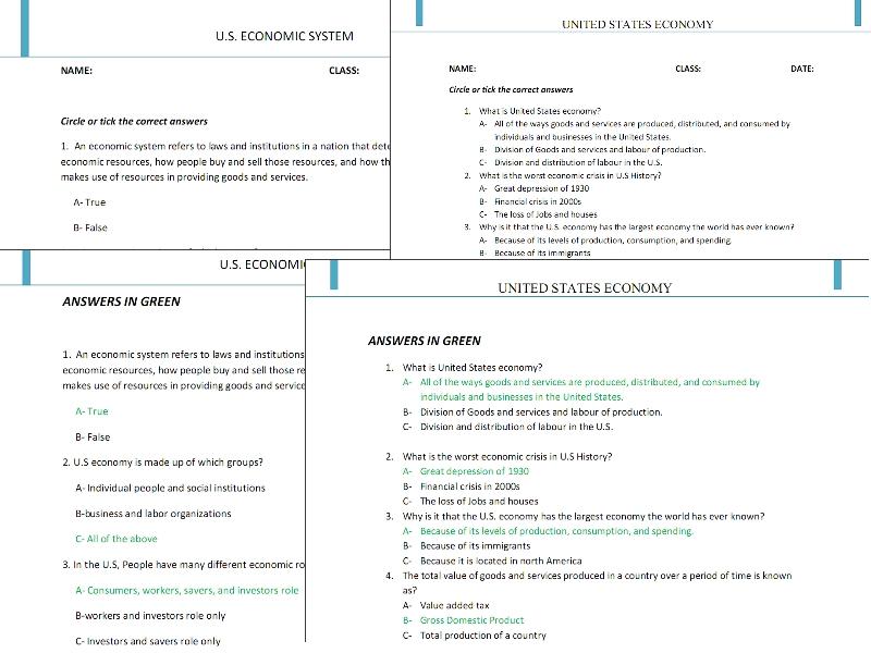 Economic Worksheets Karibunicollies – Economic Systems Worksheet